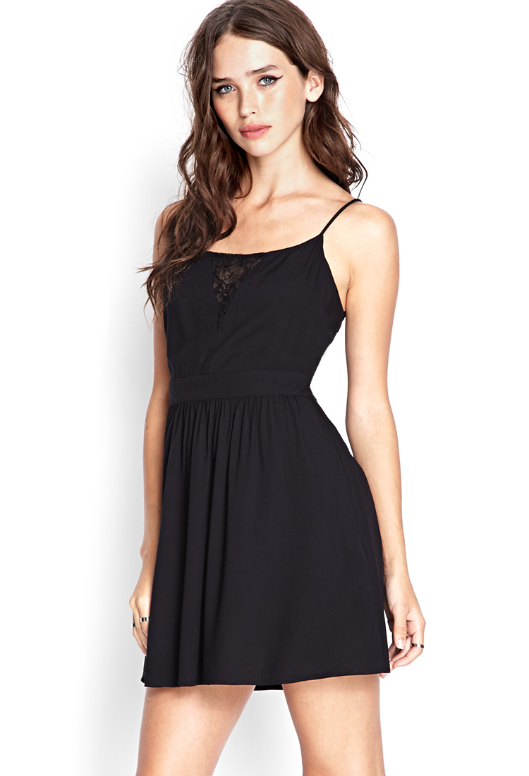 Forever 21 Floral Lace Fit & Flare Dress in Black | Lyst