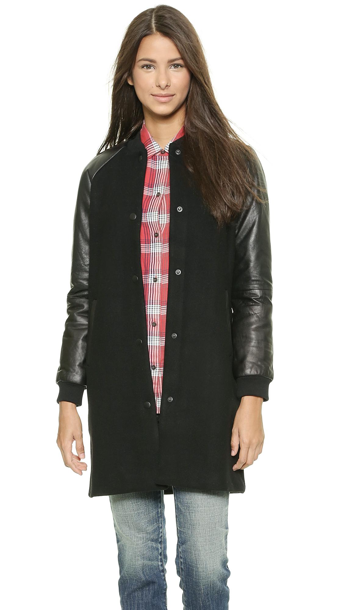 Lyst Madewell Leather Sleeve Varsity Bomber Wool Coat True Black