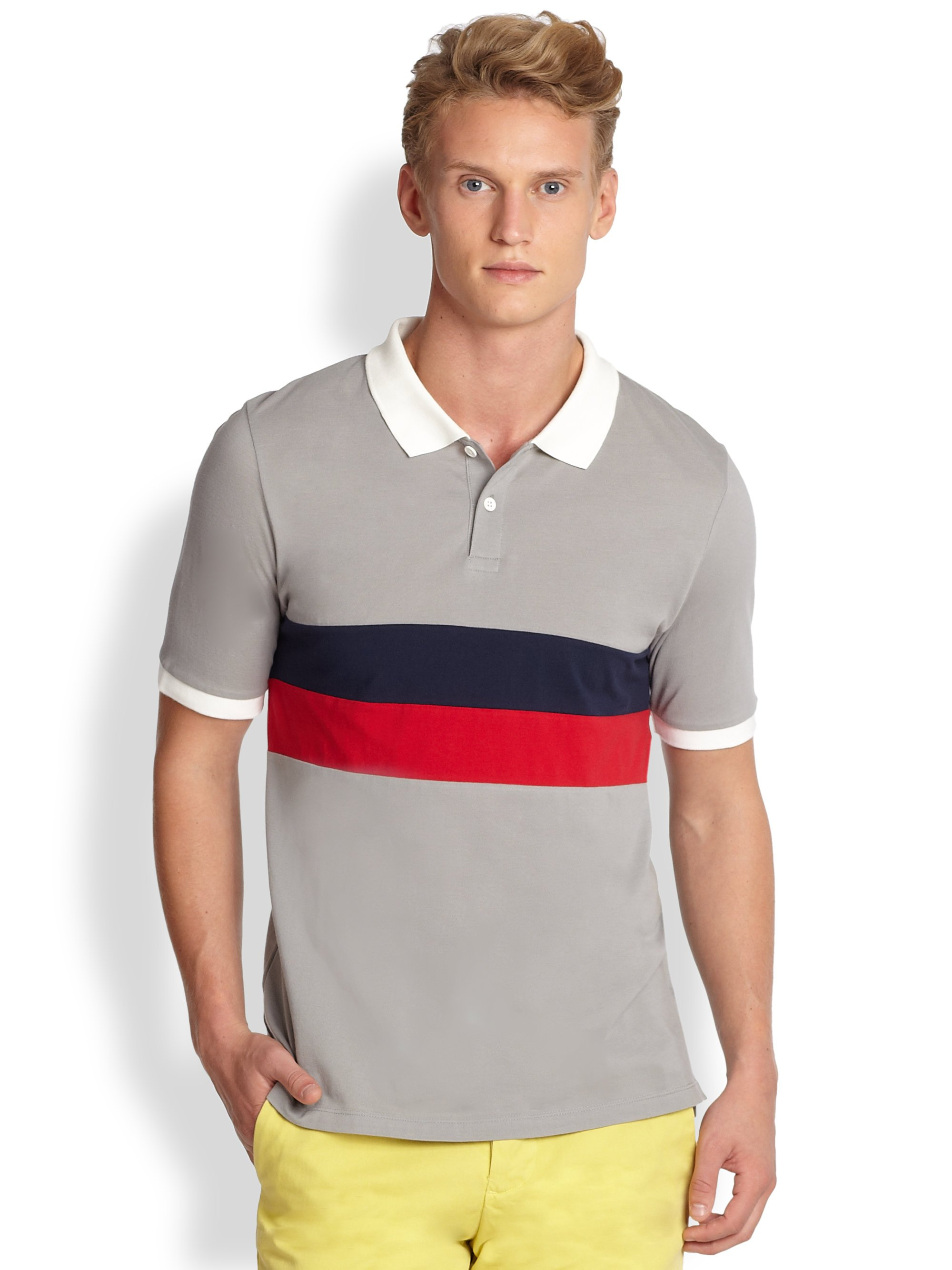 0b3628cff1bf Band of Outsiders Panel Stripe Polo Shirt in Gray for Men - Lyst