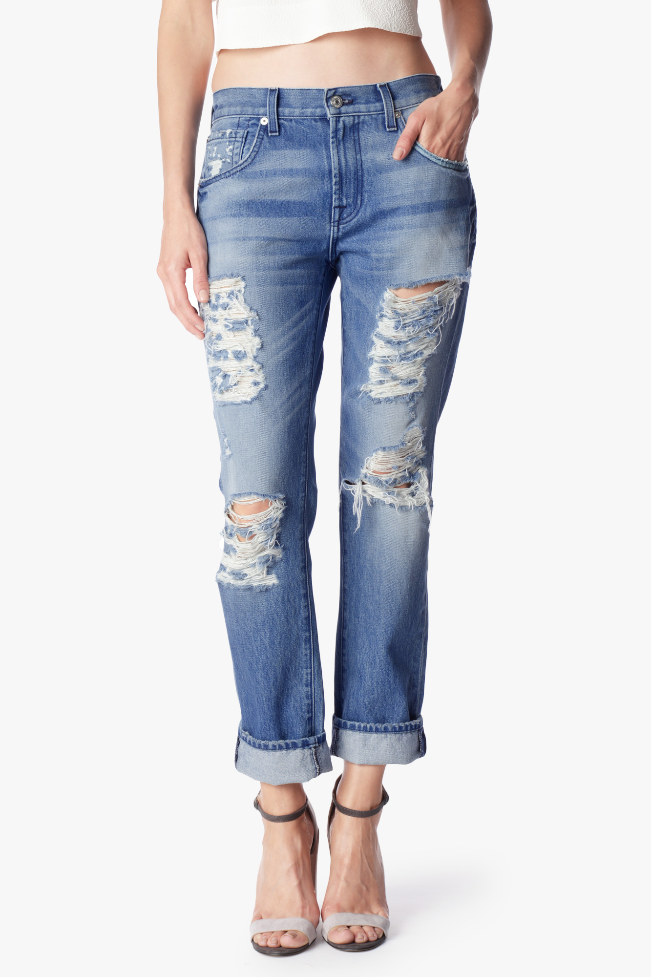 7 for all mankind The Relaxed Skinny In Rigid Vintage Indigo 2 in ...