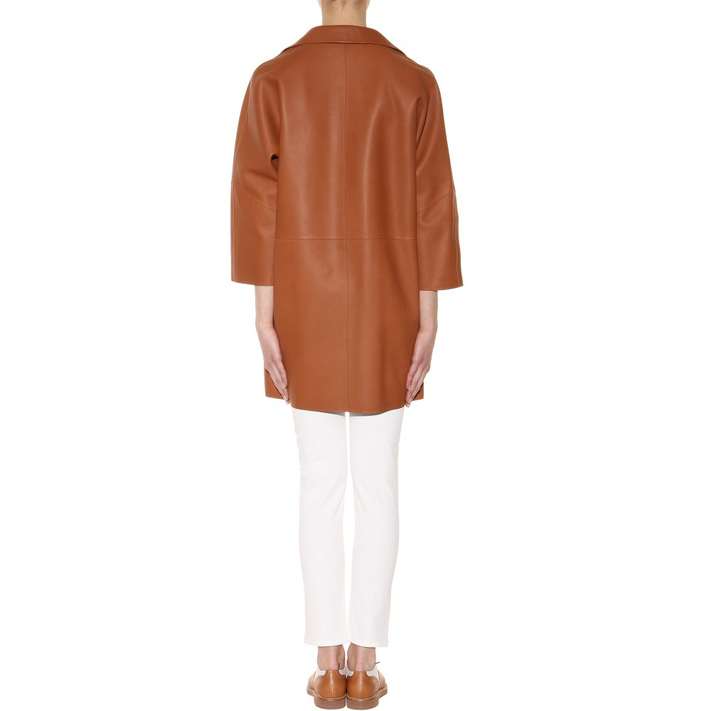 Loro piana Spencer Leather Coat in Brown