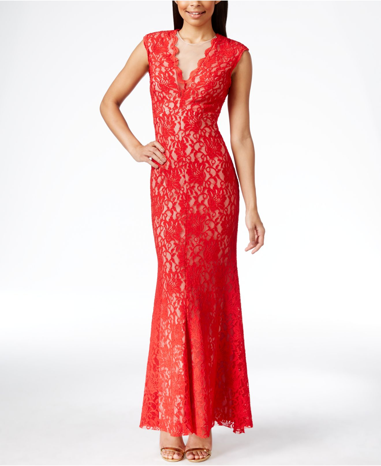 dd1687f262fd Xscape Contrast-lace V-neck Gown in Red - Lyst