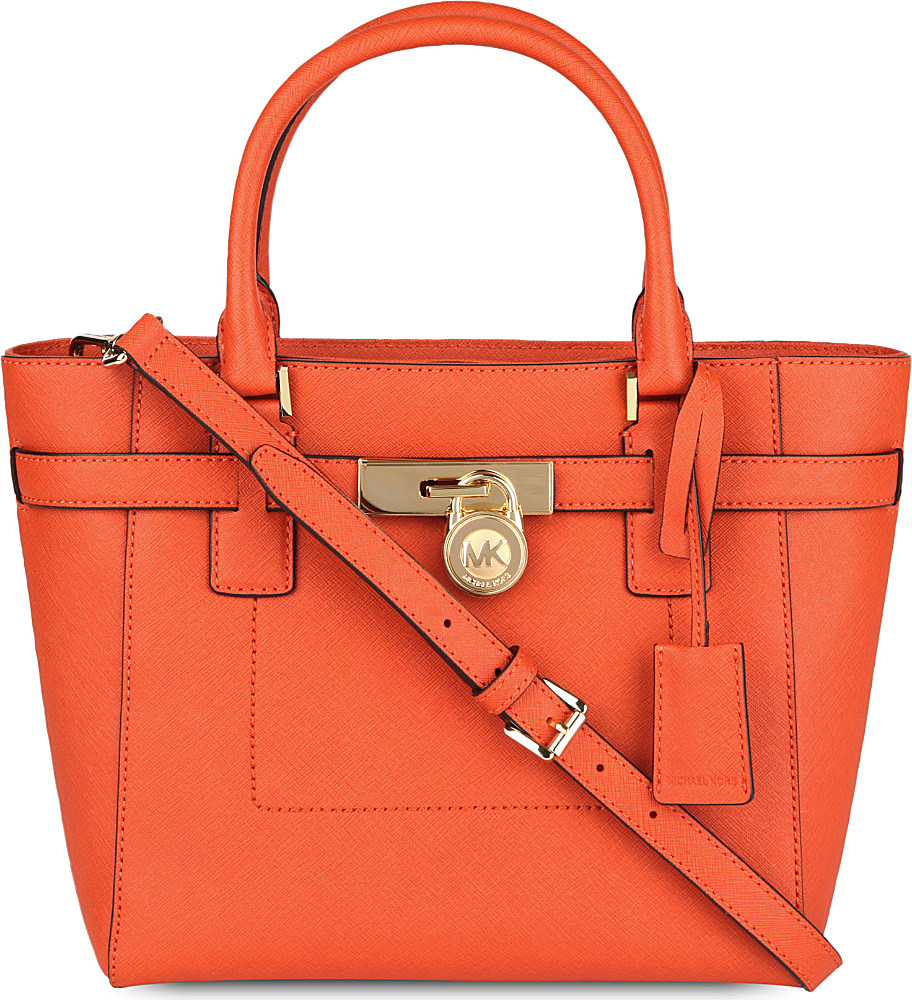 Michael Kors Hamilton Laukku : Michael kors red hamilton leather tote lyst