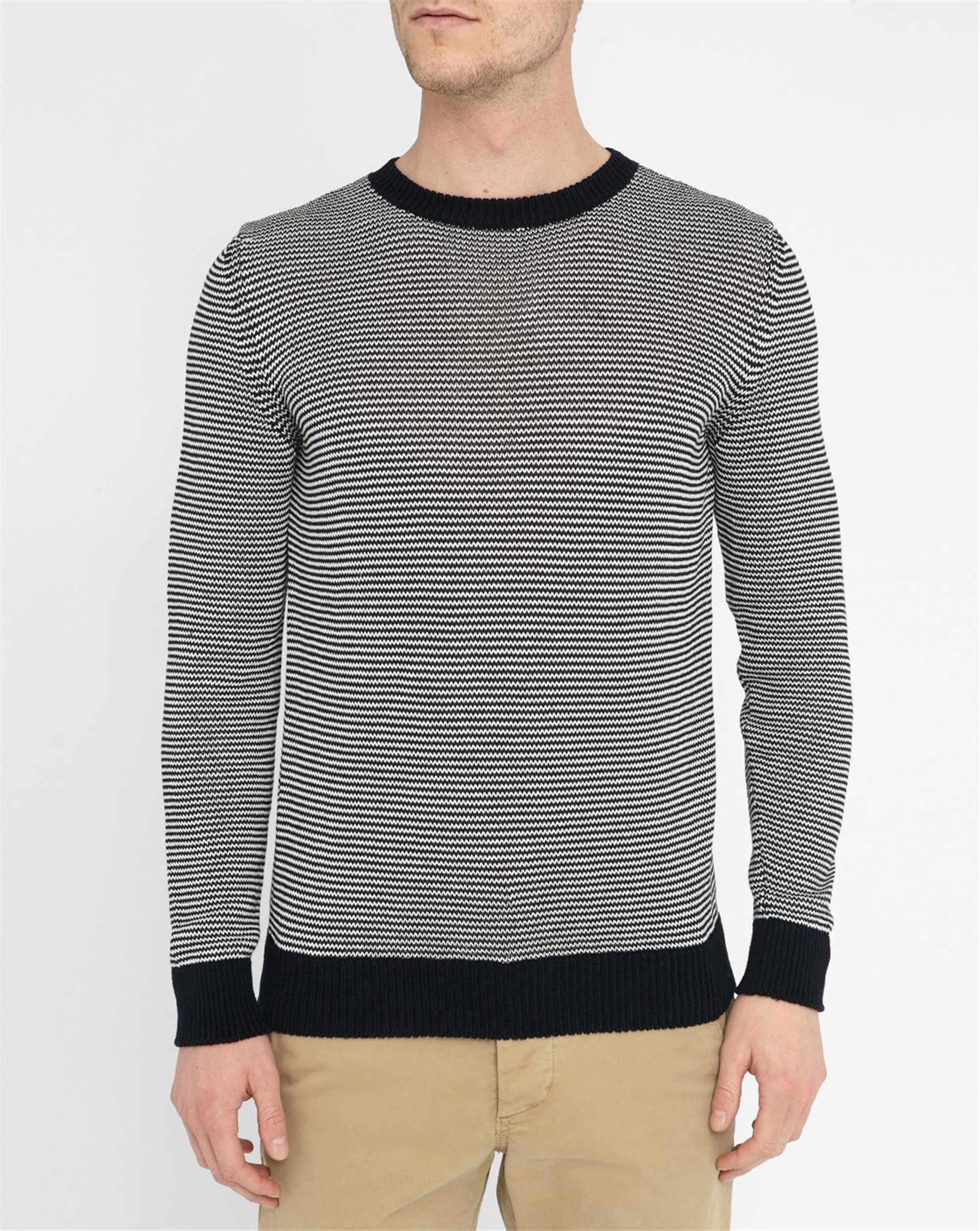 Round Neck Sweater Knitting Pattern : A.p.c. White And Navy Schroeder Knit Round-neck Sweater in Gray for Men (whit...