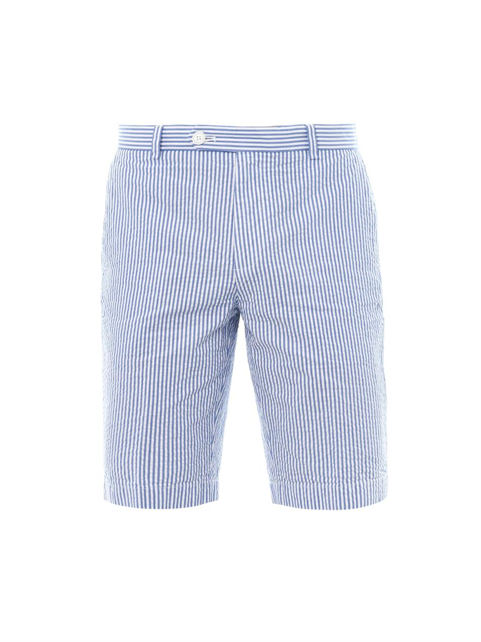 lyst brooks brothers striped seersucker shorts in blue