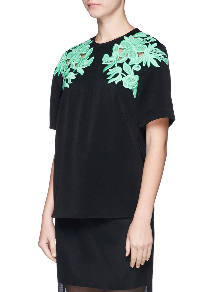 3 1 phillip lim guipure floral lace t shirt in black lyst