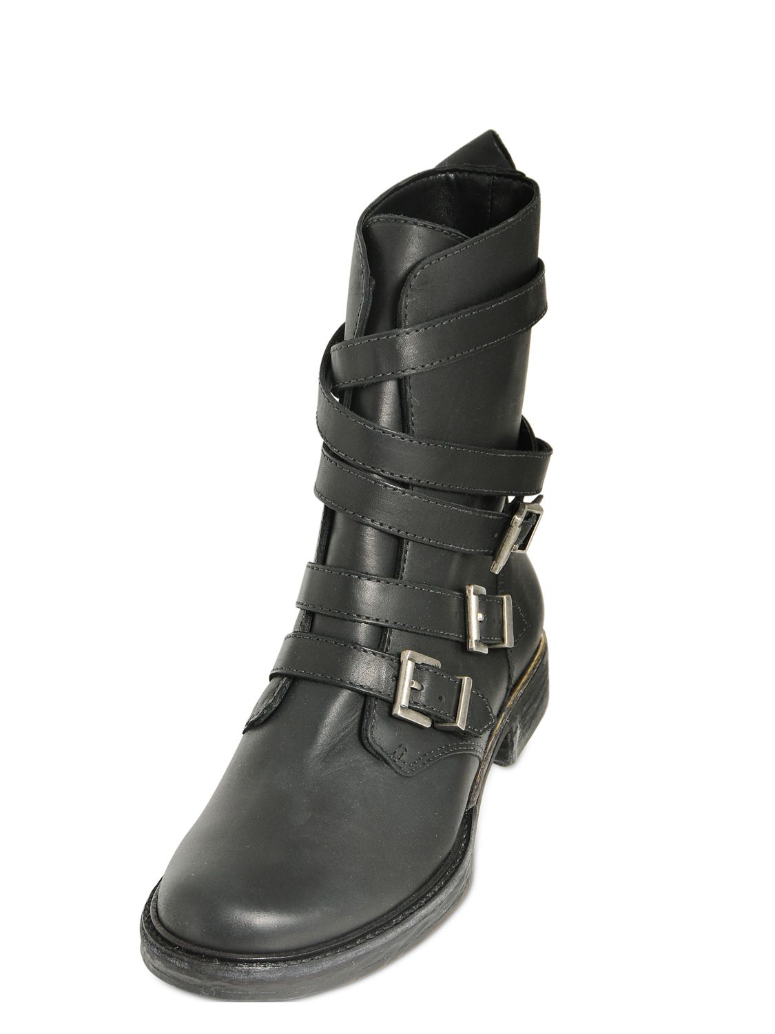 schutz 20mm belted leather boots in black lyst