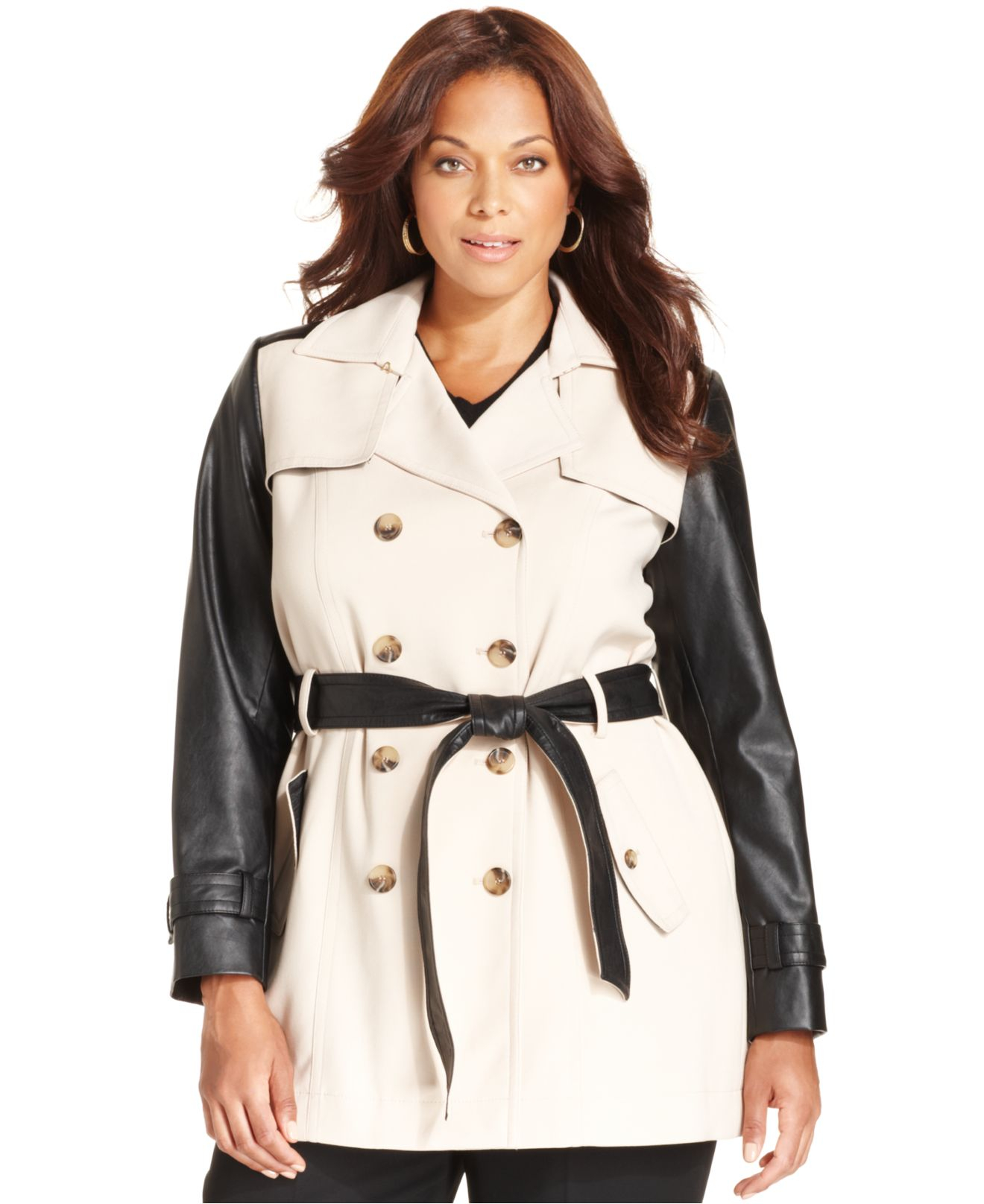 Trench Coat Leather Sleeves