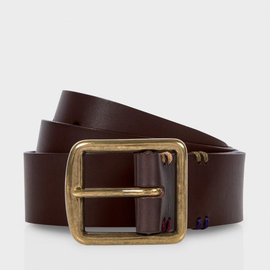 paul smith s brown leather buckle belt
