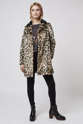 Topshop Petite Leopard Swing Faux Fur Coat in Brown | Lyst