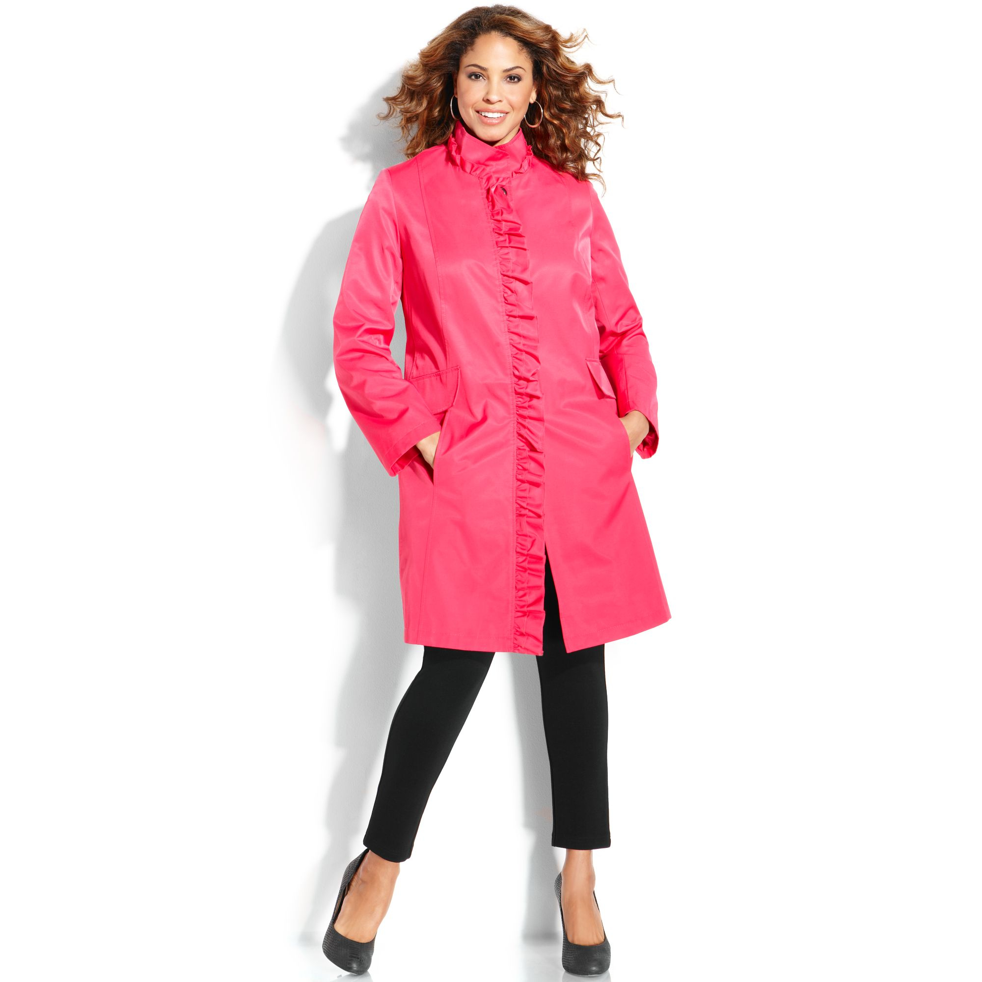 White Mark Puffer Coat Red