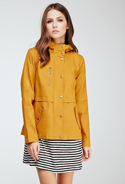 Forever 21 Hooded Utility Jacket in Yellow (MUSTARD)