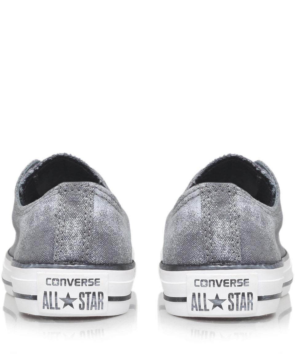 7345ffa8b92d Lyst - Converse Grey Sparkle Wash Chuck Taylor All Star Low Trainers ...