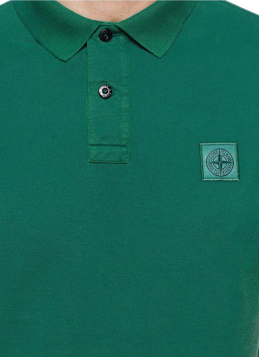 12bf7be622a Lyst Stone Island Garment Dye Cotton Piqué Polo Shirt In Green For Men