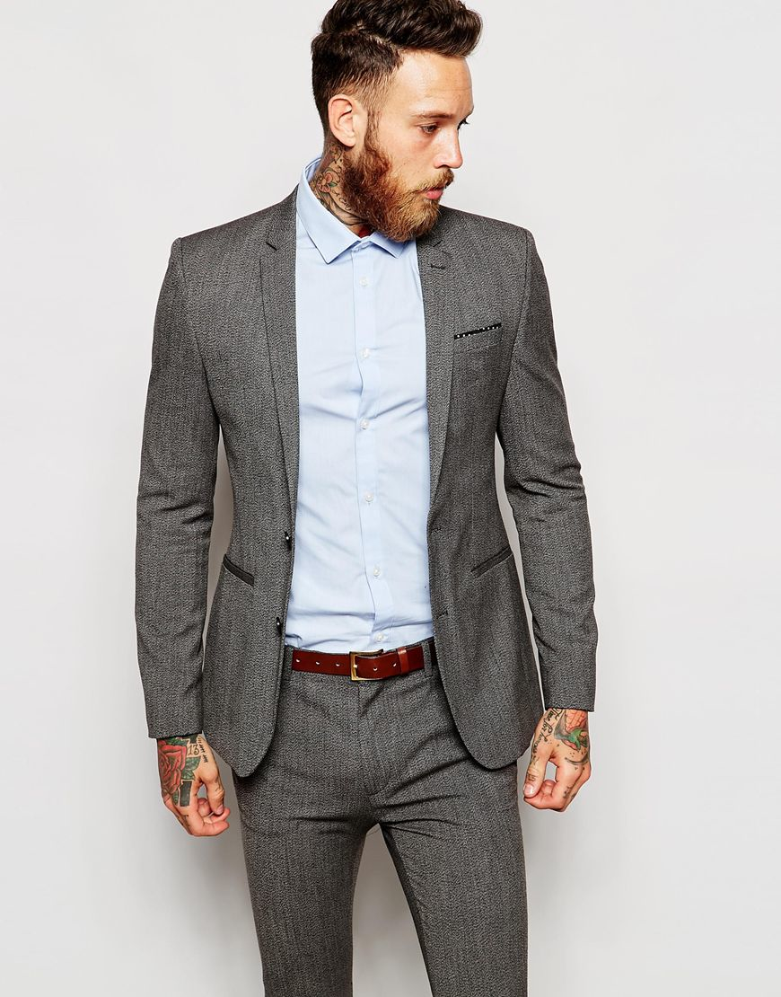 Asos Wedding Super Skinny Suit Jacket In Salt And Pepper in Gray ...