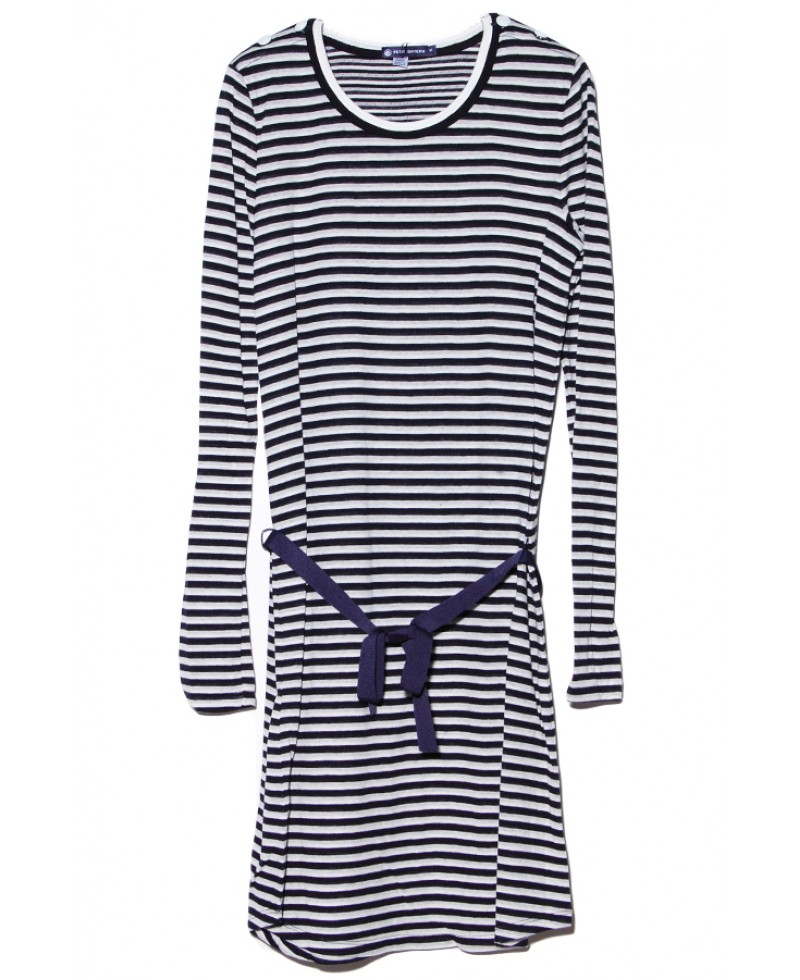 Petit bateau Navy And White Stripe Dress in Blue  Lyst