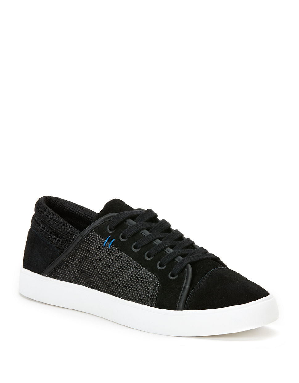 calvin klein lamonte suede mixed media sneakers in black. Black Bedroom Furniture Sets. Home Design Ideas