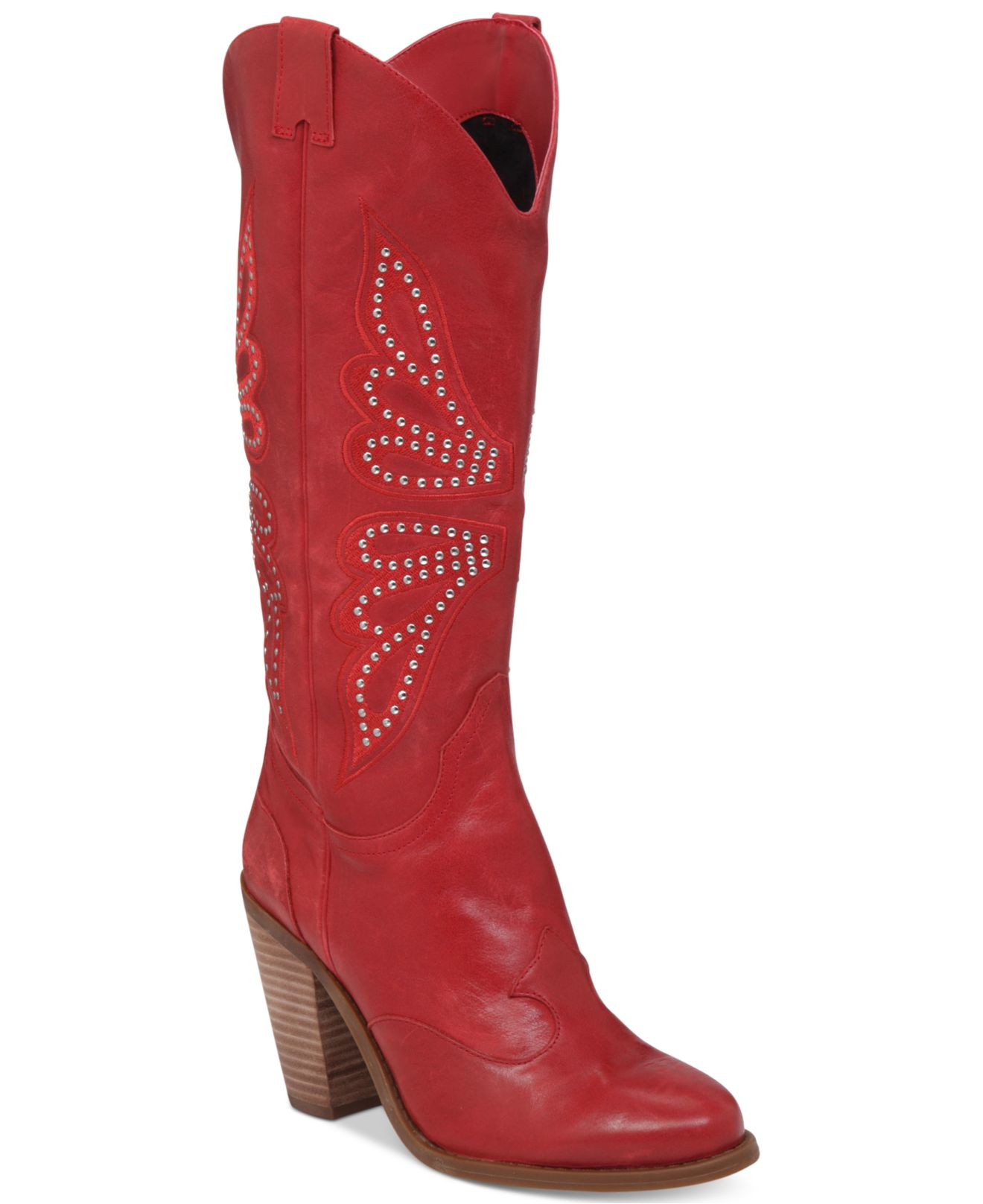 Jessica simpson Caralee Western Boots in Red | Lyst
