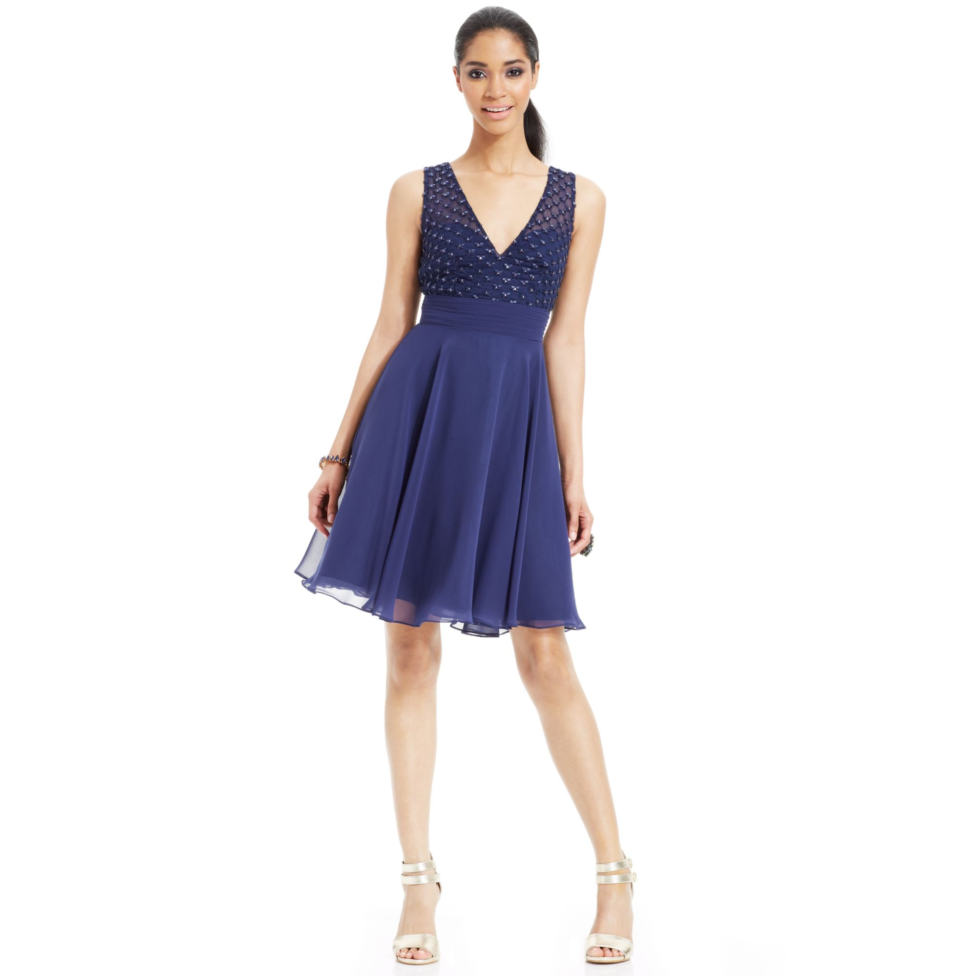 Lyst - Js Boutique Beaded Chiffon V-Neck Dress in Blue