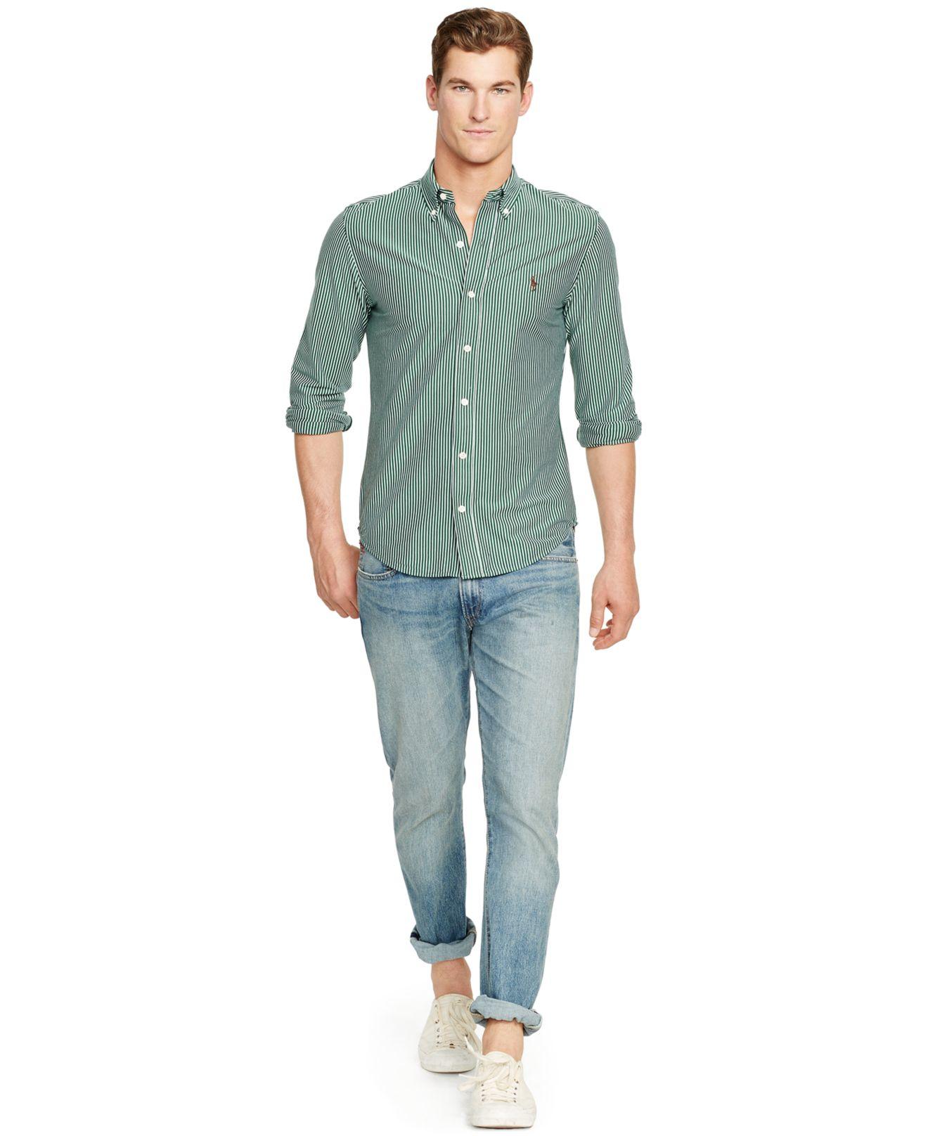 Lyst Polo Ralph Lauren Striped Knit Dress Shirt In Green For Men