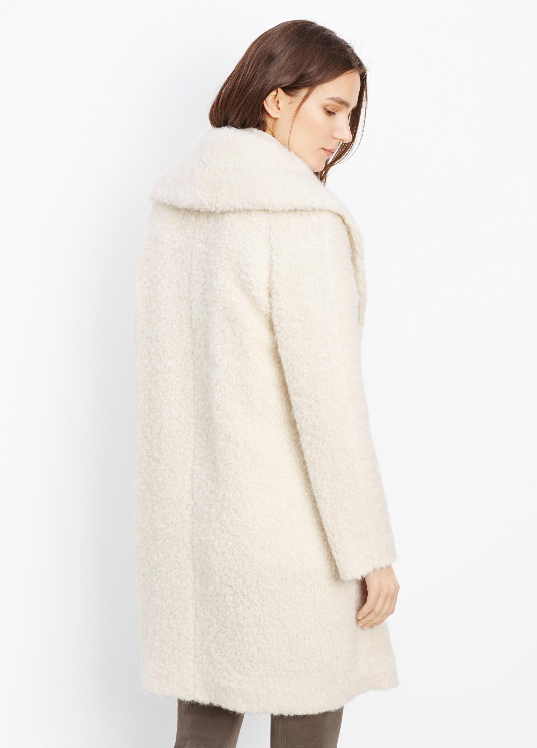Vince Fuzzy Knit Bouclé Coat in White | Lyst