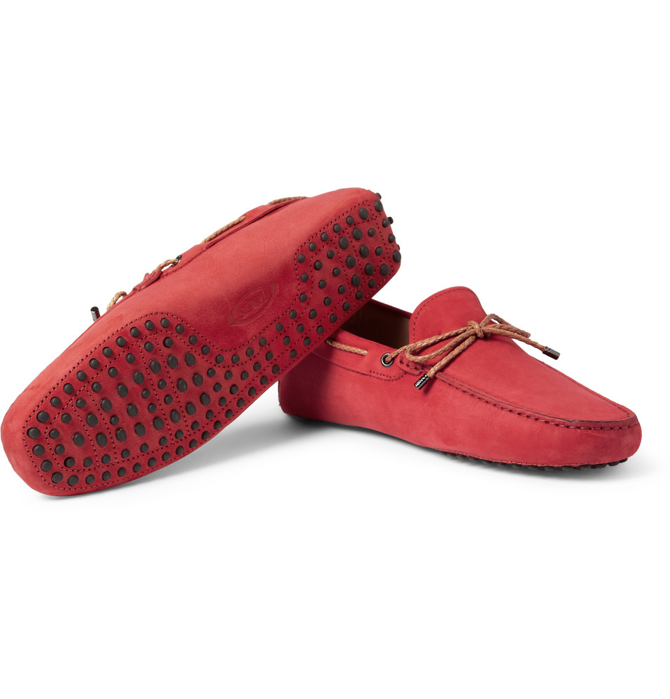 Lyst - Tod'S Gommino Nubuck Leather Driving Shoes in Red for Men