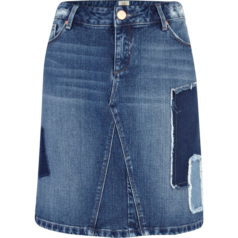 river island mid wash patchwork denim pencil skirt in blue