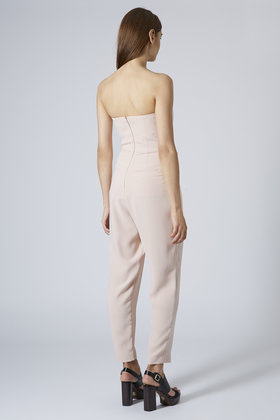 889c17bf2d8 Lyst - TOPSHOP Petite Tailored Bandeau Jumpsuit in Pink