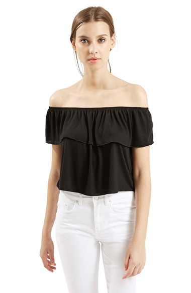 2fb0ccf86fa1 Lyst - TOPSHOP Ruffle Off The Shoulder Top in Black