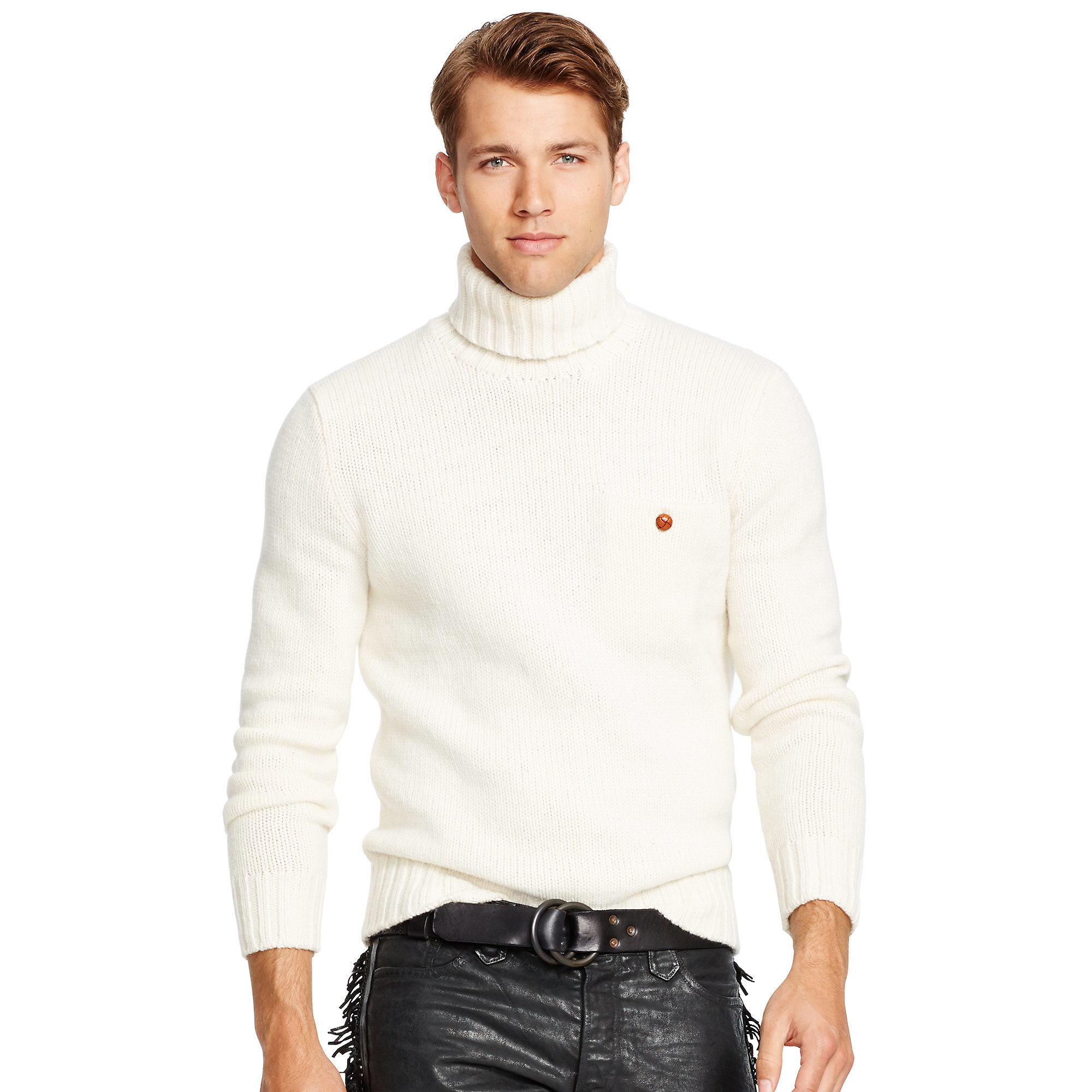 Polo ralph lauren Merino Wool Turtleneck Sweater in Natural for ...