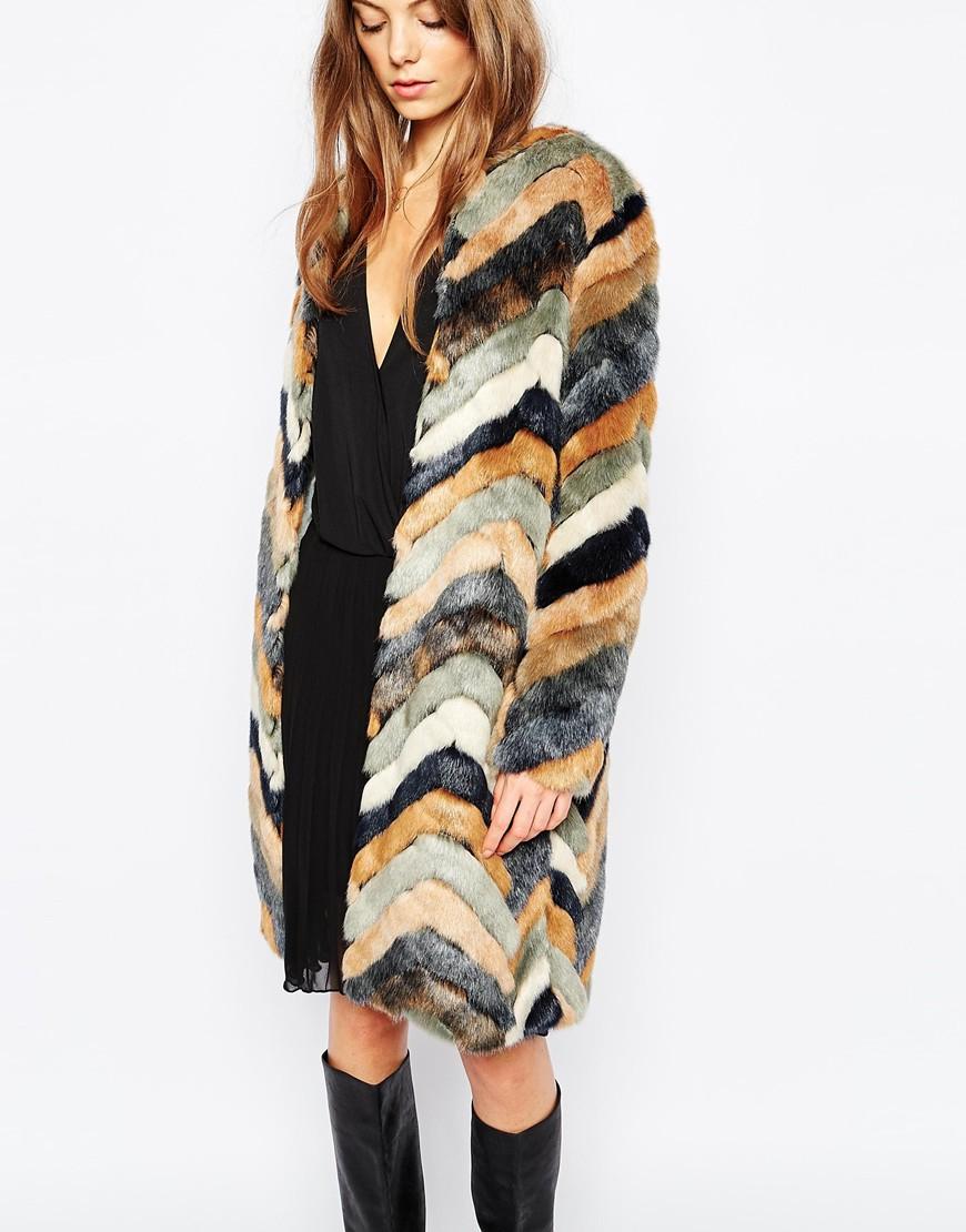 81f5e2763f Urbancode Faux Fur Chevron Stripe Coat - Lyst