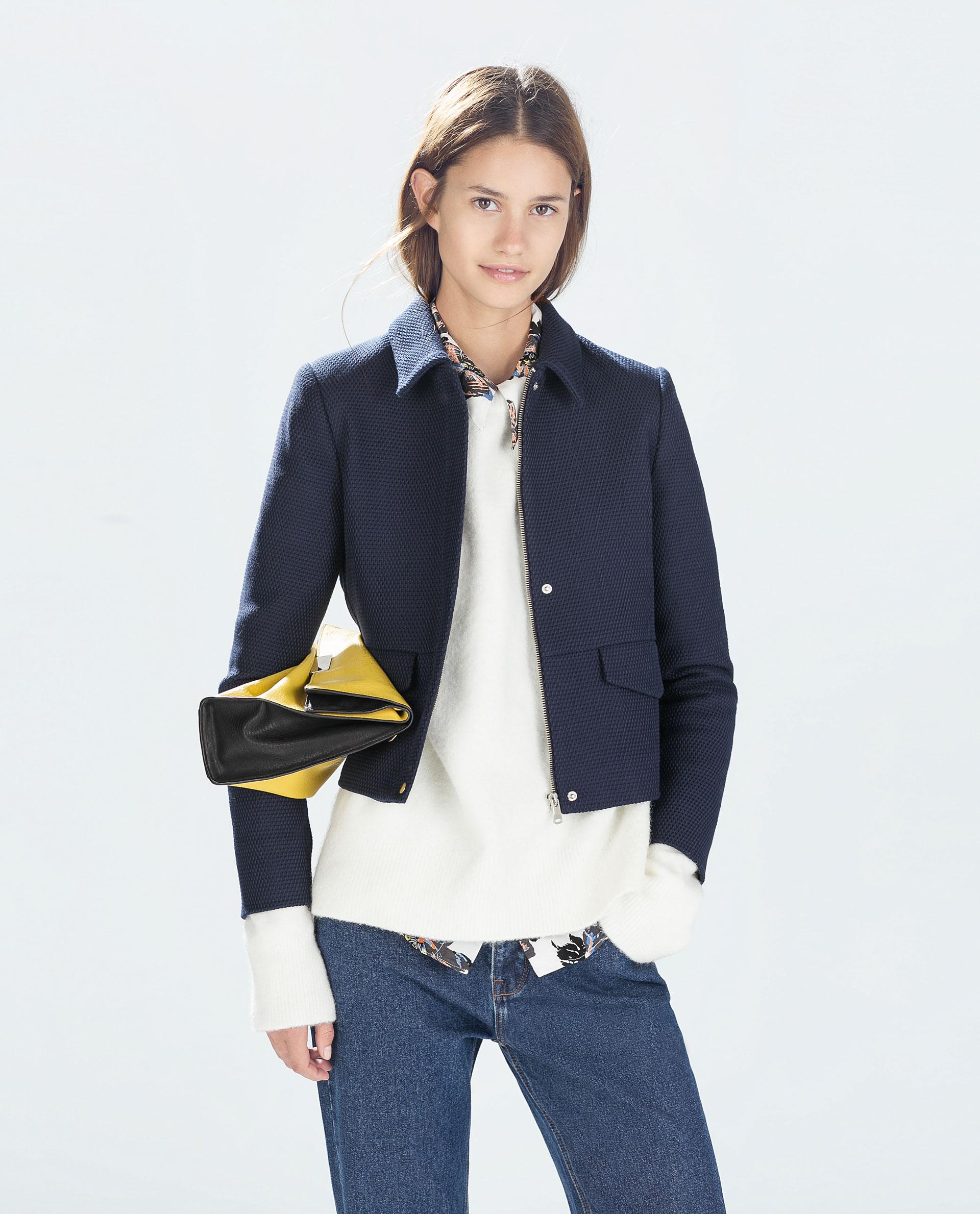 Zara Short Jacket in Blue | Lyst