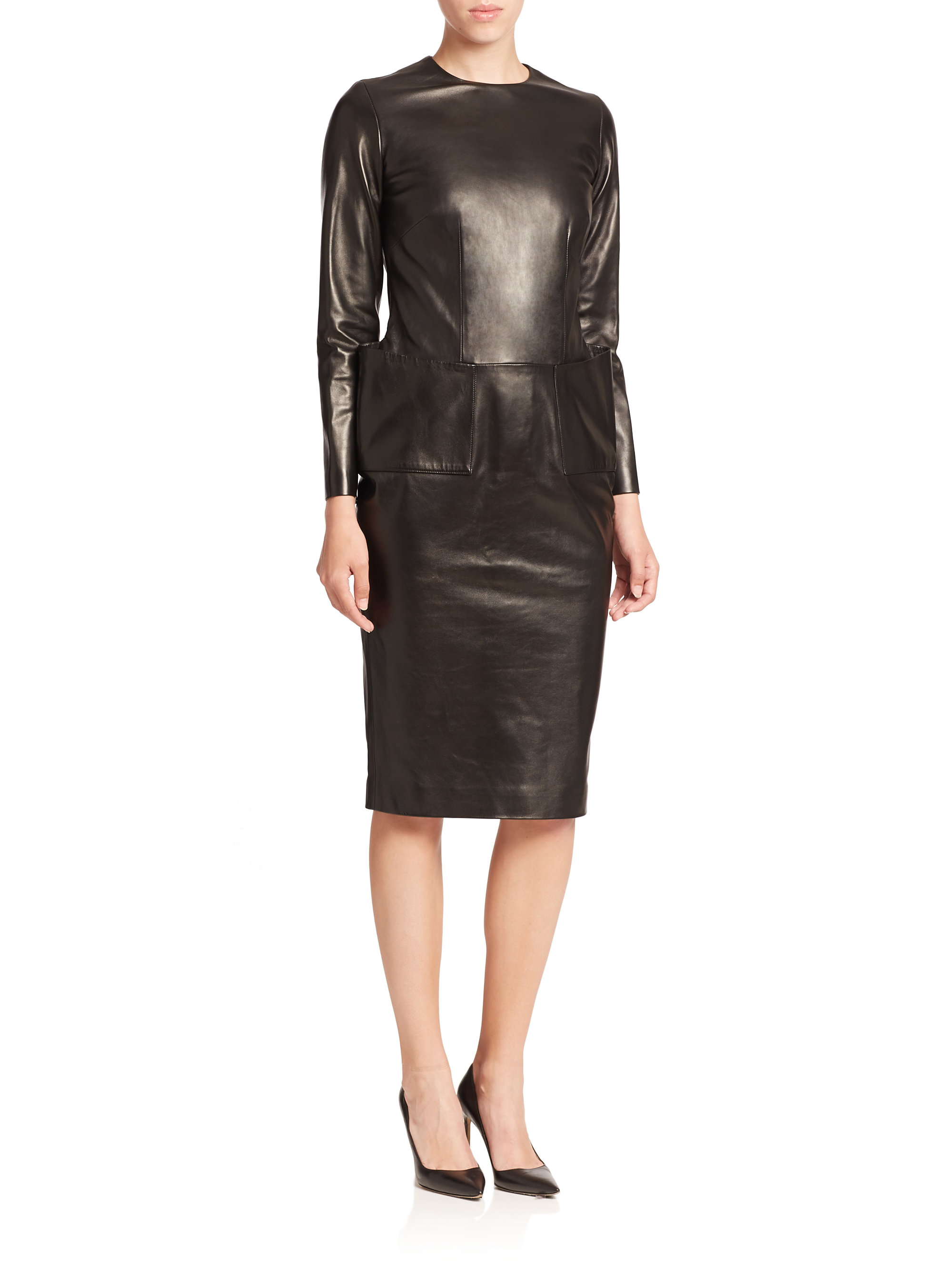 La prestic ouiston Parfaite Long-sleeve Leather Dress in Black | Lyst