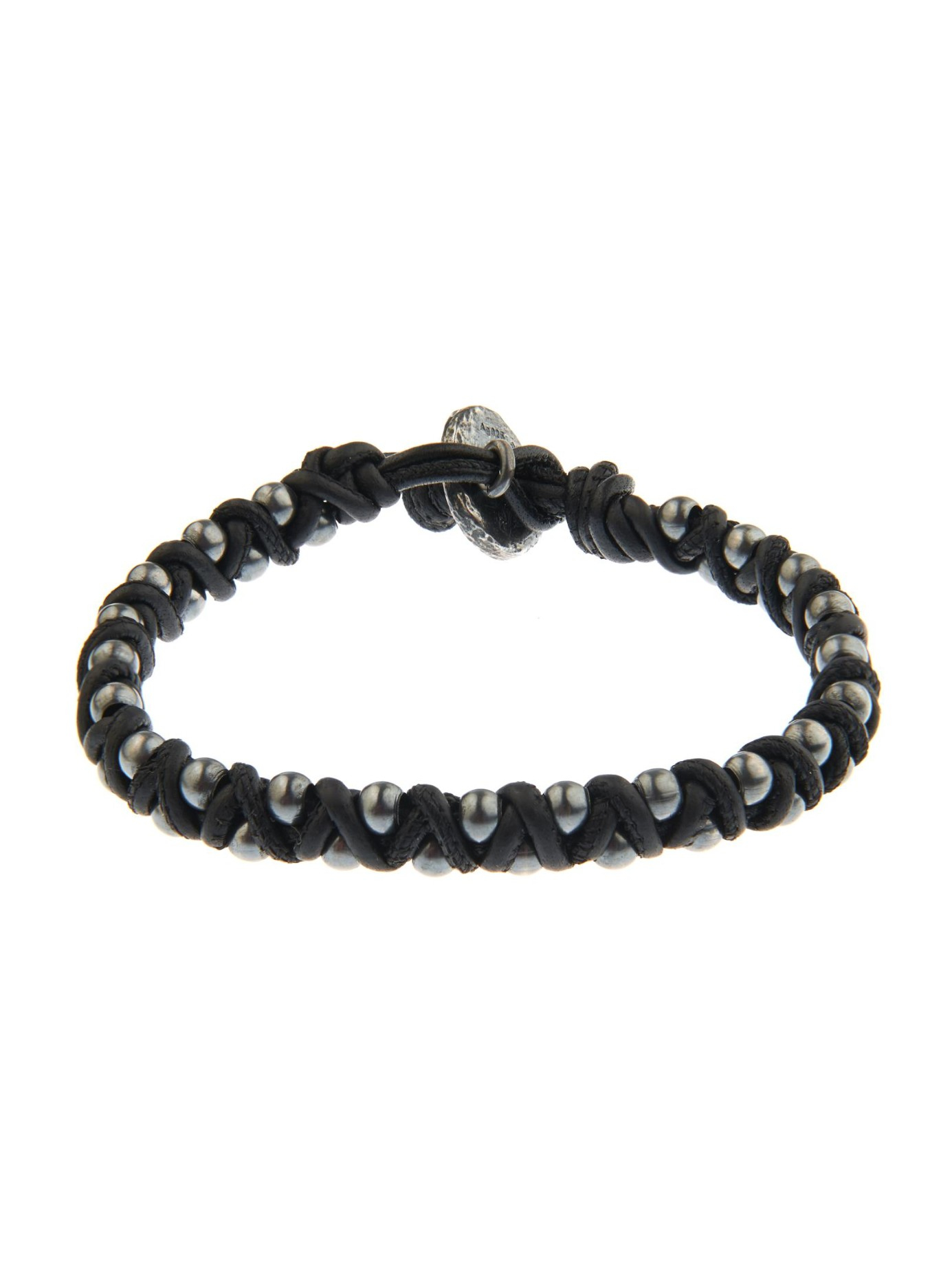 bf61eb5ee088a Lyst - Bottega Veneta Oxidised-Silver And Woven Leather Bracelet in ...