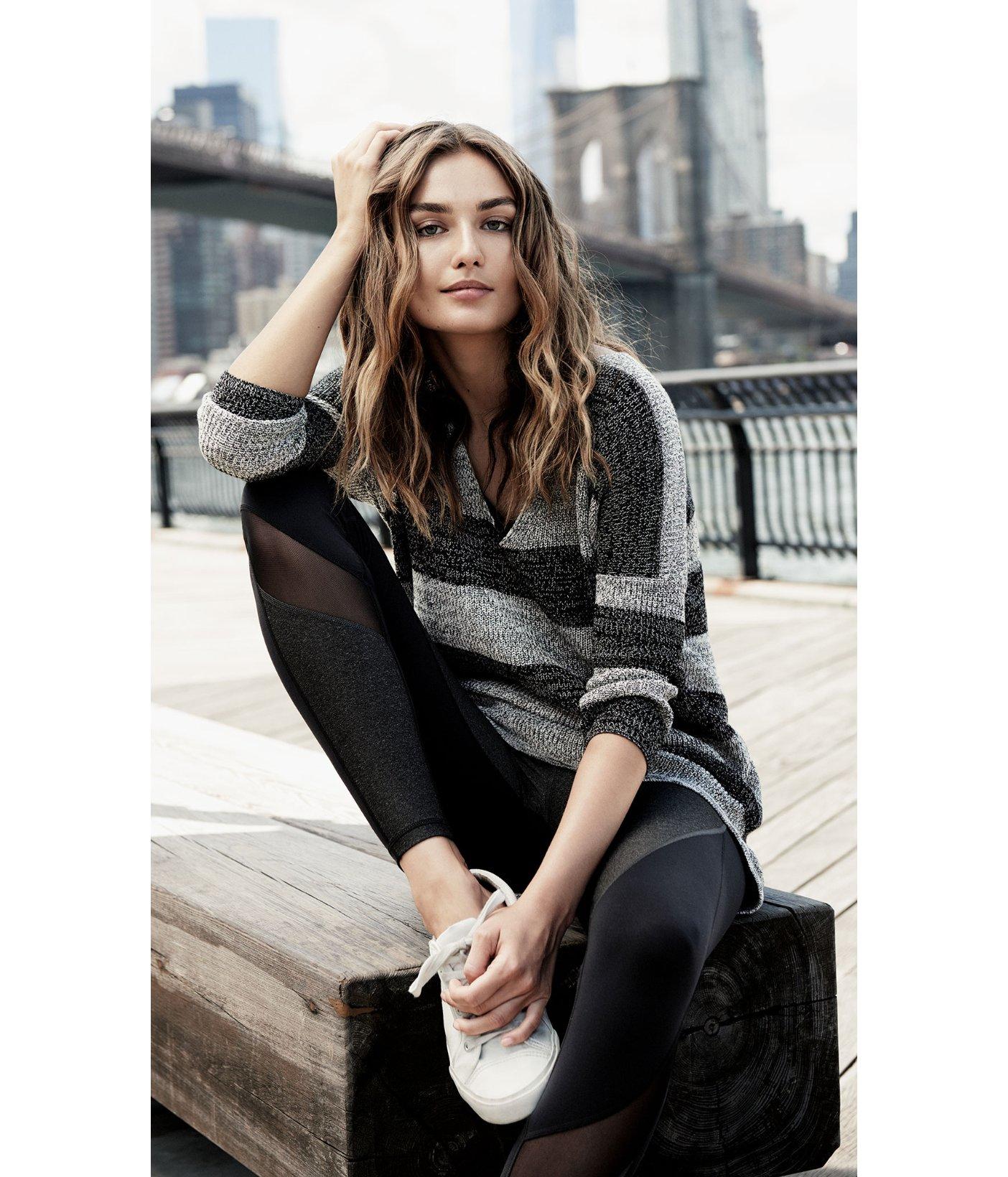 Express Marl Stripe London Tunic Sweater in Black | Lyst