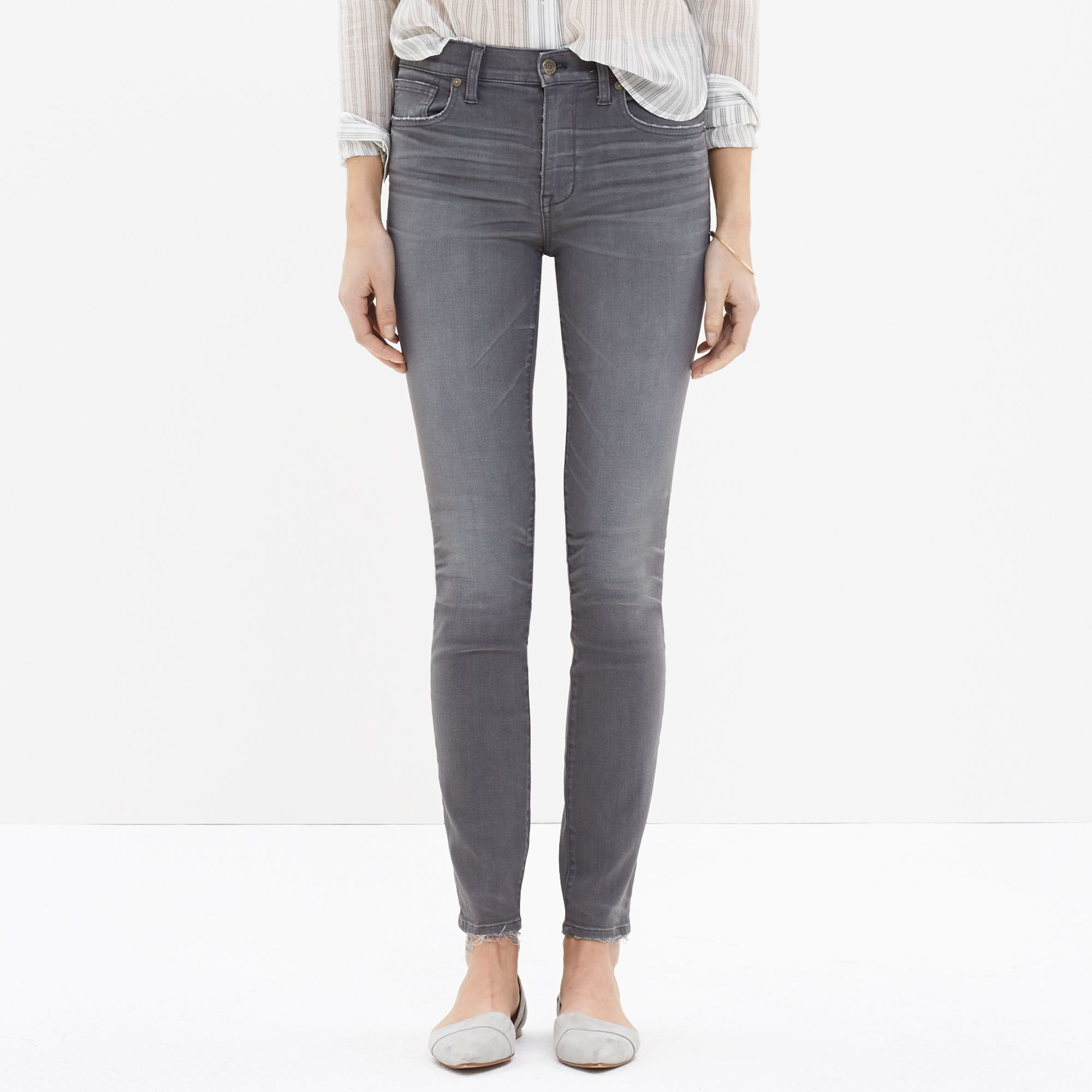 """madewell tall 9"""" highrise skinny jeans in dusty wash in"""