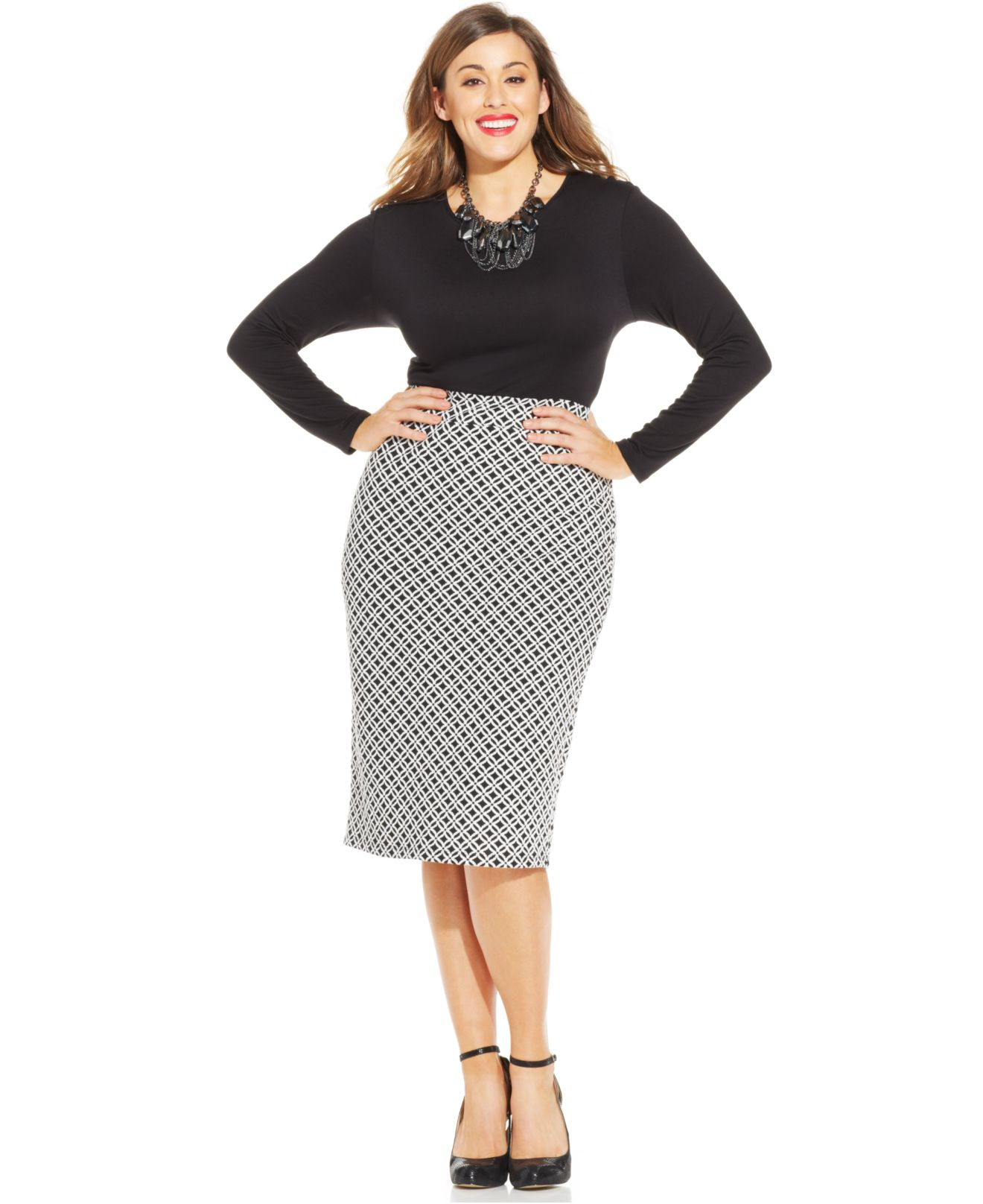 soprano plus size printed midi dress in black whiteblack
