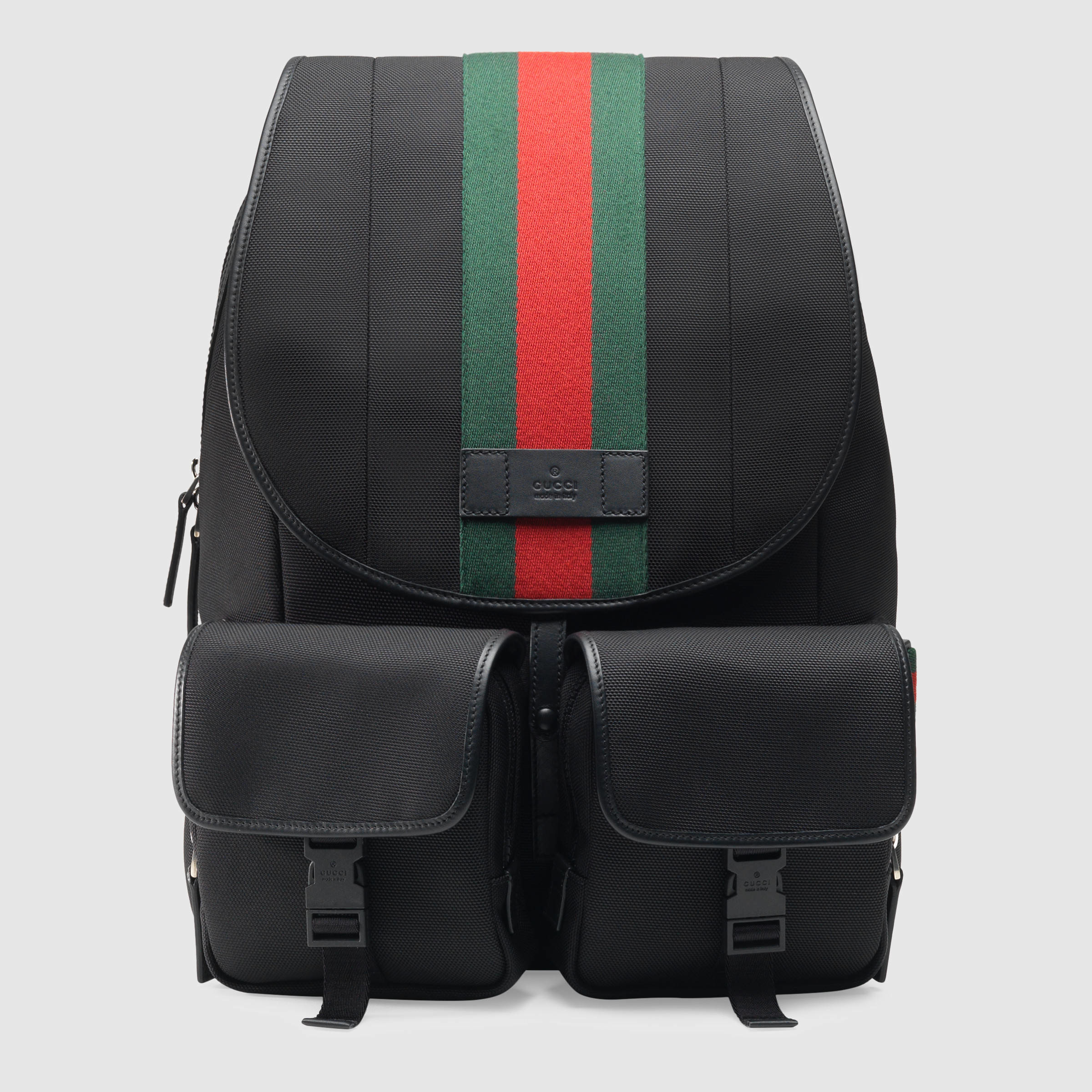 cef45d25009e Lyst - Gucci Web Band Canvas Backpack in Black for Men