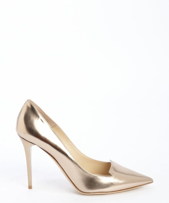 0341110cdfa9 ... sale lyst jimmy choo rose gold patent leather avril pointed toe pumps  75ef0 d91a2