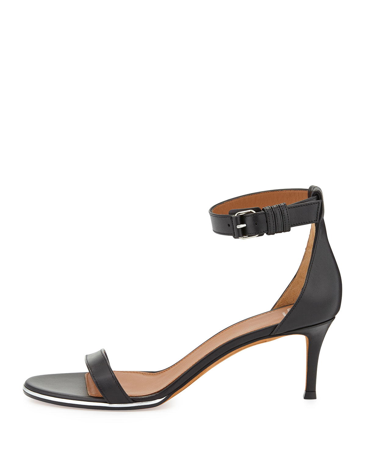 3f9f363be705 Givenchy Leather Zipper Ankle Strap Sandals in Black