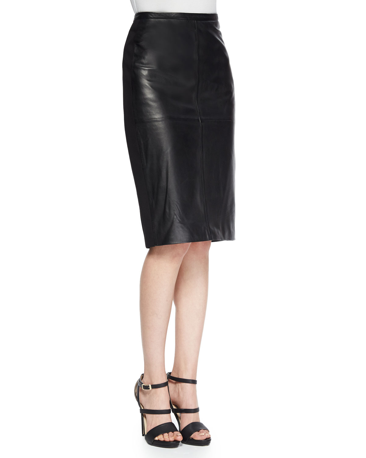 bagatelle leather ponte pencil skirt in black lyst