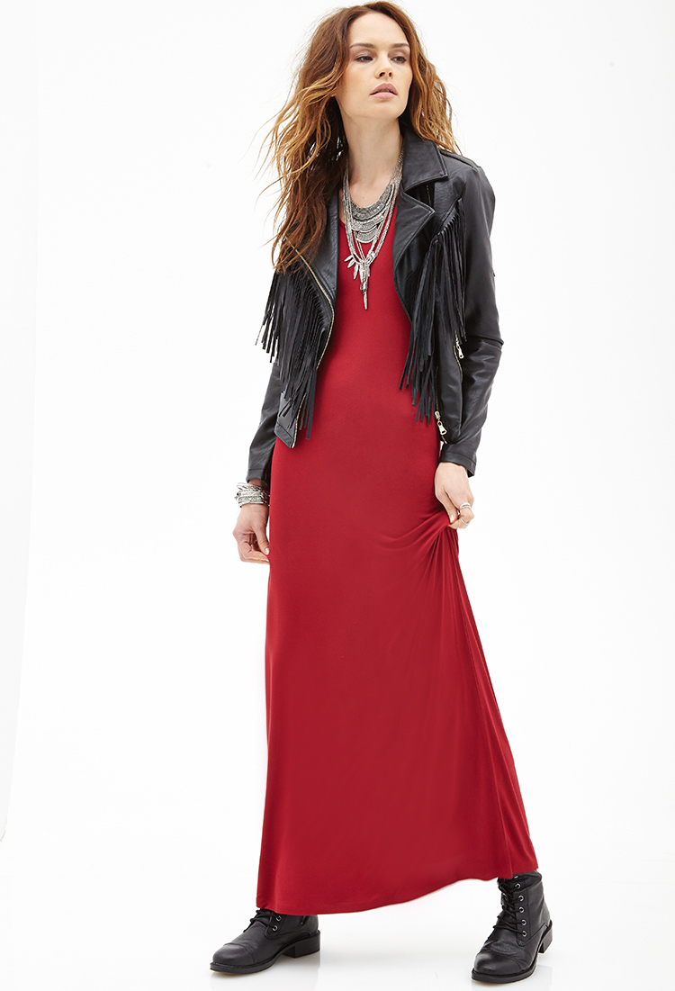 25acb2bb248 Forever 21 Long-sleeved Maxi Dress in Red - Lyst