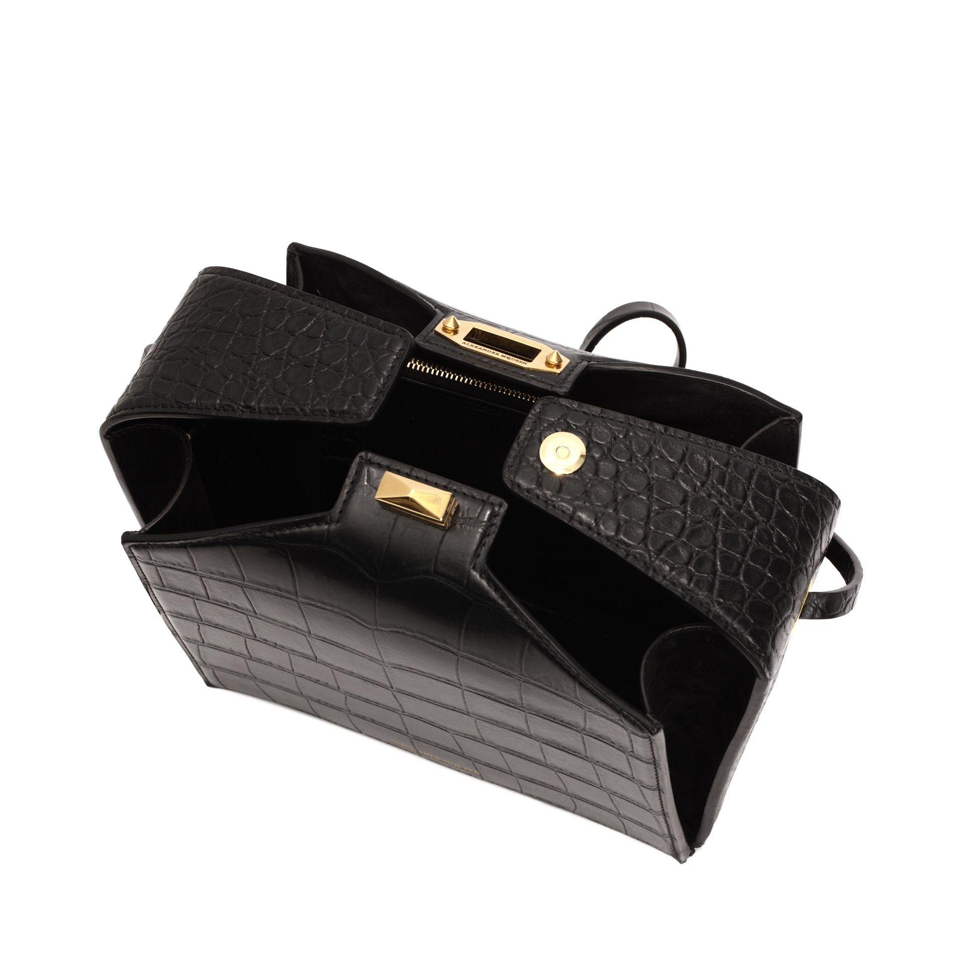 8ed67ba891fa9 Lyst - Alexander mcqueen The Box Bag In Soft Croc in Black