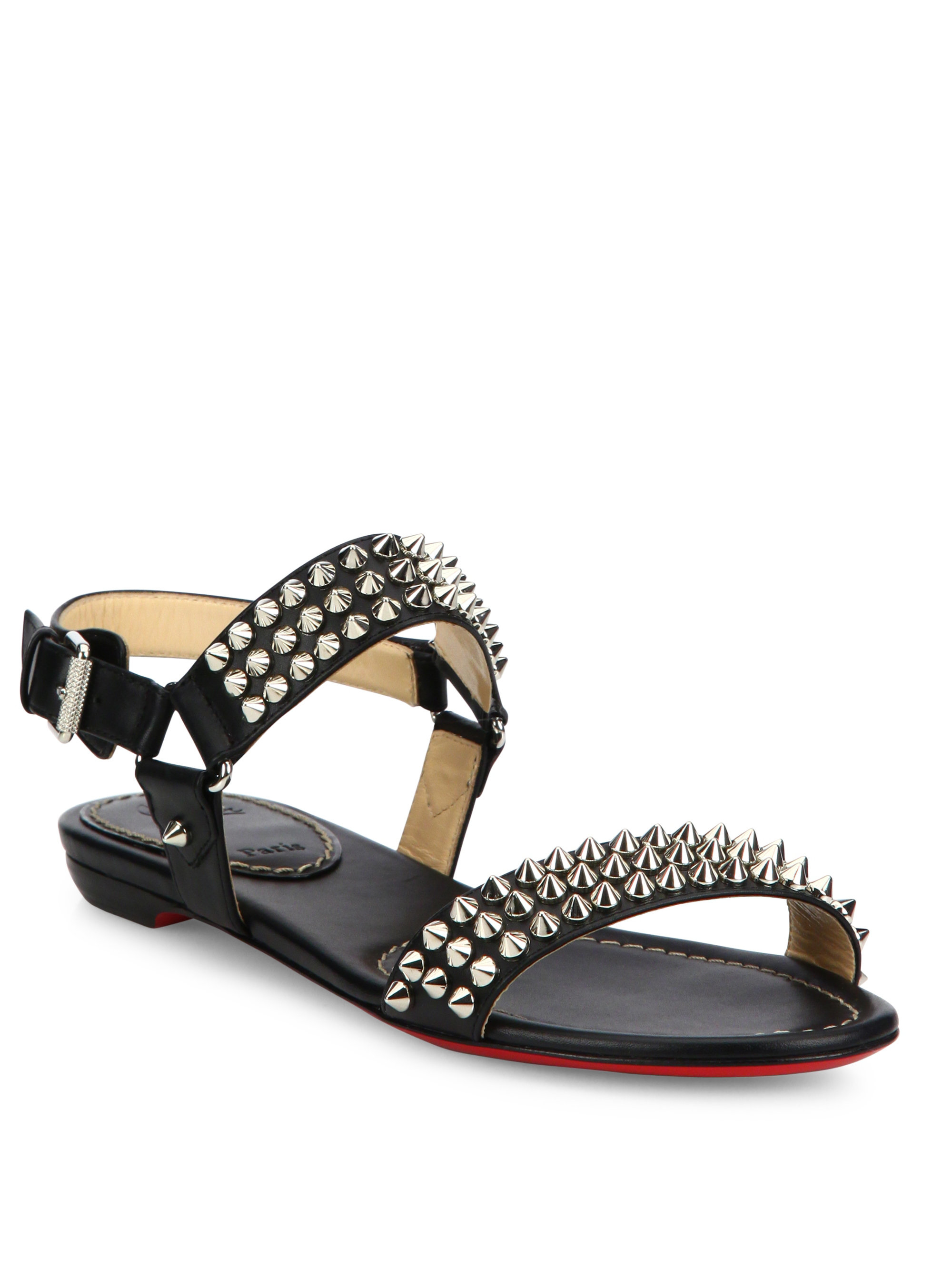 1f7305abe3c2 Lyst - Christian Louboutin Bikee Bike Spiked Leather Flat Sandals in ...