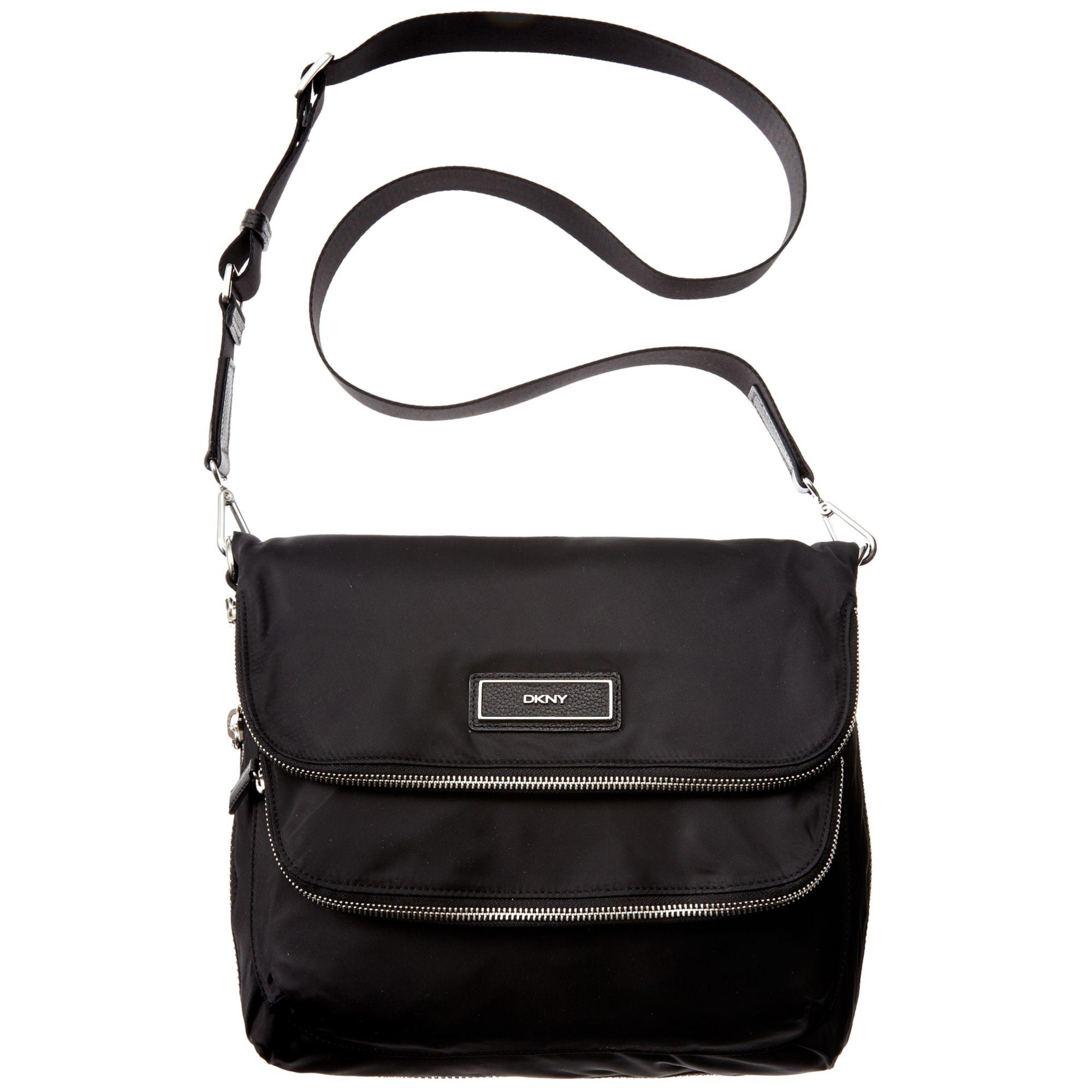 dkny medium nylon messenger bag in black lyst