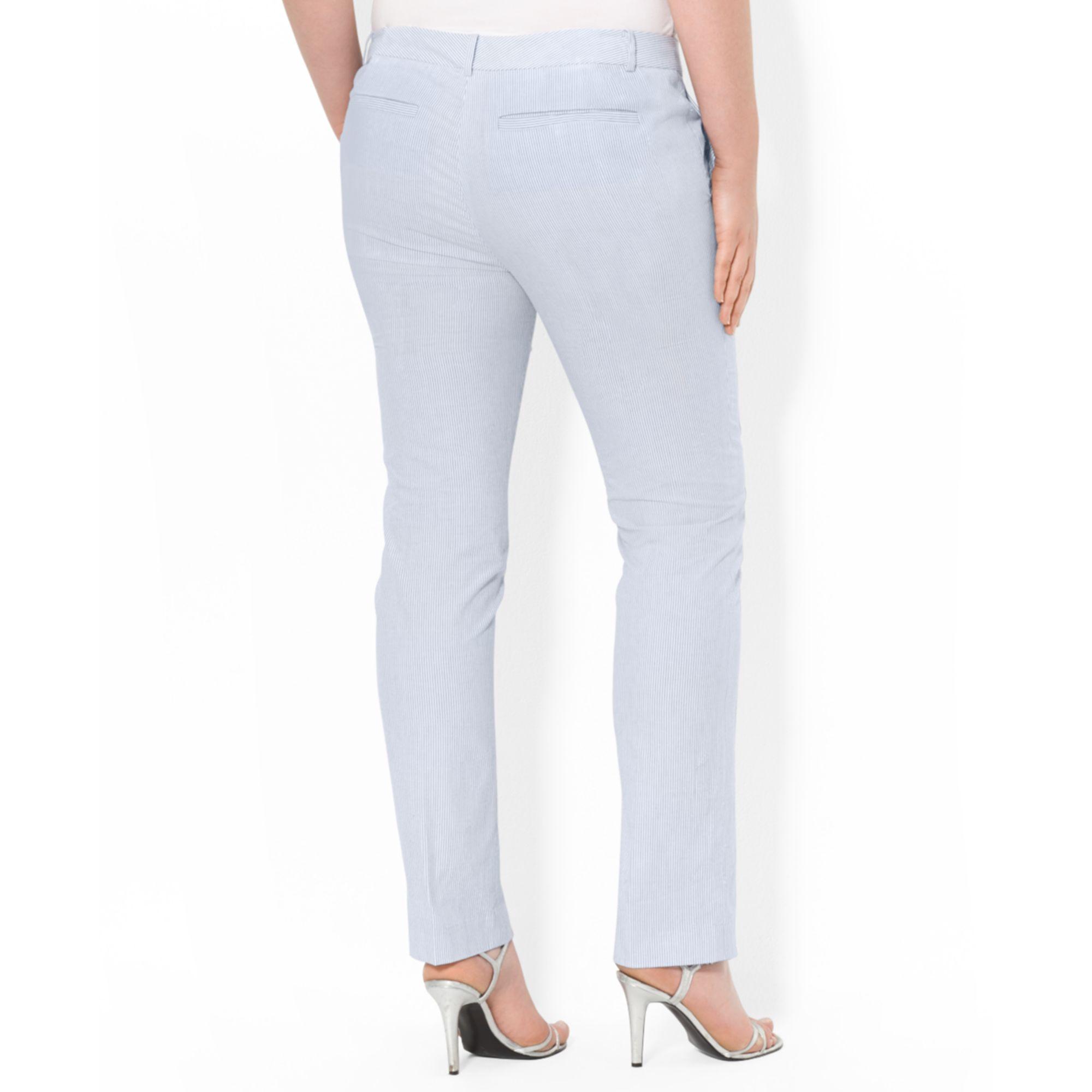 bdbe631e990de Lyst - Lauren by Ralph Lauren Plus Size Seersucker Straightleg Pants ...