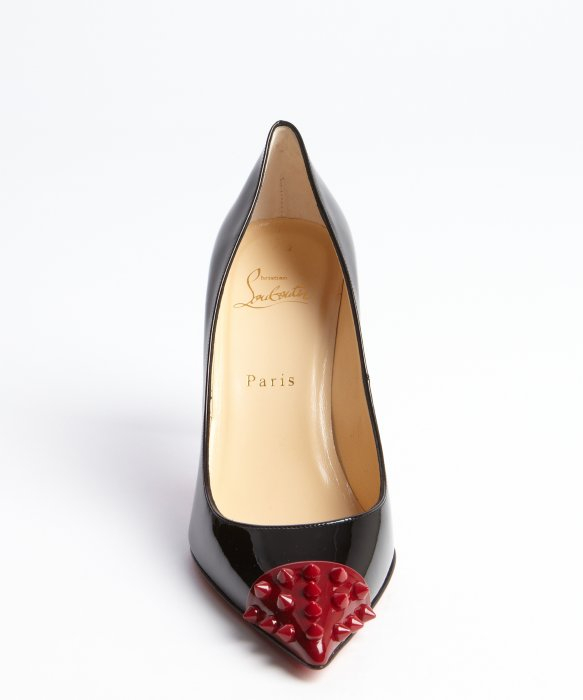Christian louboutin Patent Leather Spiked Toe Geo Pointed Toe ...