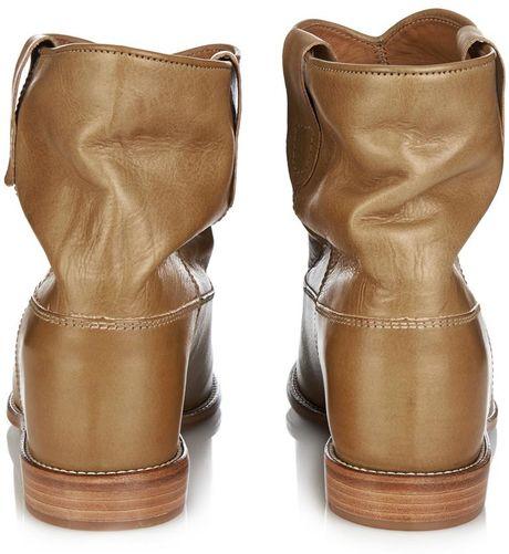 isabel marant cluster leather ankle boots in gold tan lyst. Black Bedroom Furniture Sets. Home Design Ideas