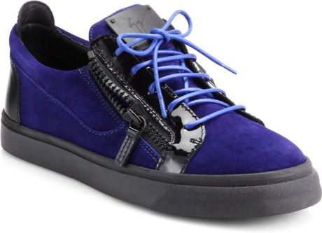 Giuseppe Zanotti Suede Amp Pantent Leather Low Top Sneakers