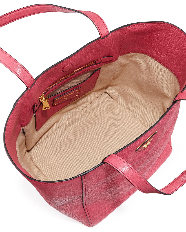 prada crossbody clutch - prada red vitello daino leather logo stamped shopping tote bag ...